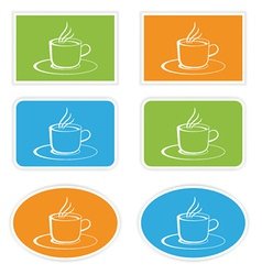 Labels with cup vector