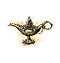 Magic lamp with eid mubarak celebration on white vector