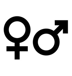 male and female gender symbol simple black flat vector image