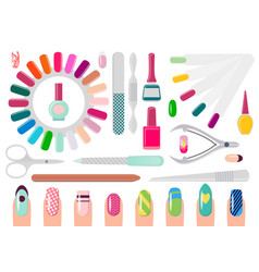 Manicure service equipment and decorated nails vector
