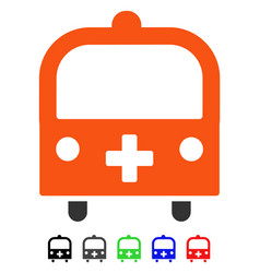 Medical bus flat icon vector