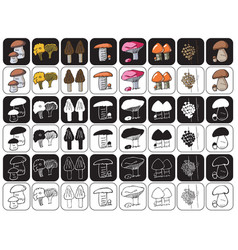 Mushrooms icons on black and white vector
