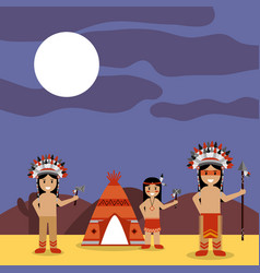 Native american indians with teepee and night vector