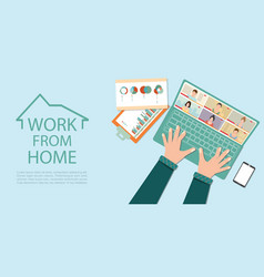 Online meeting work form home during covid-19 vector