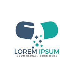 Open capsule pharmacy medical logo vector