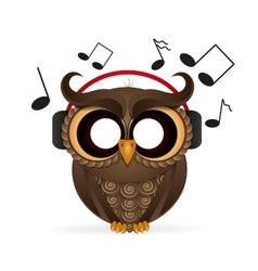 owl wearing headphones vector image