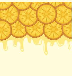 Pattern of fresh pineapples sliced fruit vector