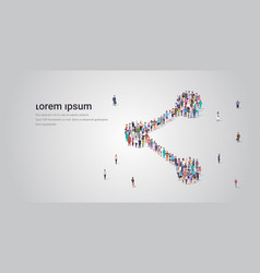 People crowd gathering in share icon shape social vector