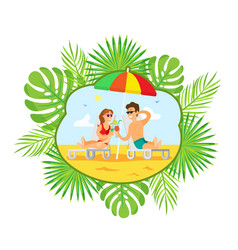 people drinking cocktails on sunny beach vacation vector image