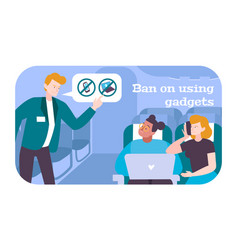People in airplane flat poster vector