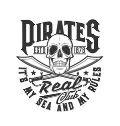 pirate skull swords t-shirt print skeleton flag vector image