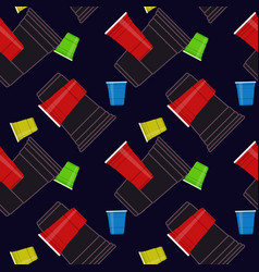 plastic party cups seamless pattern vector image
