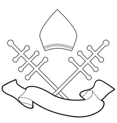 pope miter with crosiers and blank banner text vector image
