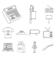 Production of advertising outline icons in set vector