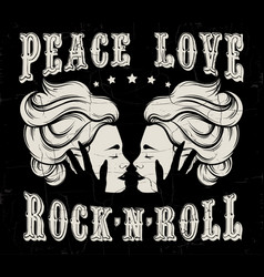 quote typographical background peace love rock n vector image