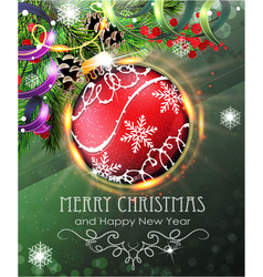 red christmas bauble with fir branches and tinsel vector image