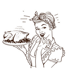 retro smiling housewife cooks roasted turkey in vector image