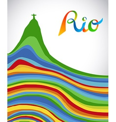 Rio Brazil color text and landmark for sport games vector