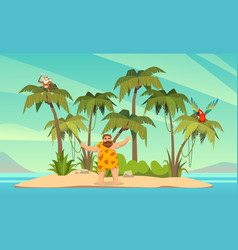 robinson crusoe man on desert island and vector image