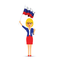russia flag waving woman vector image