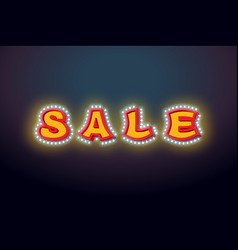 Sale light sign with lamps discount letter retro vector