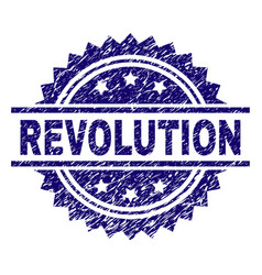 Scratched textured revolution stamp seal vector