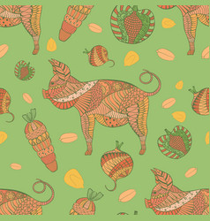 Seamless pattern with pig veg and grain vector
