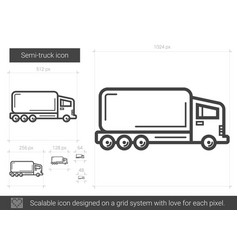 semi-truck line icon vector image