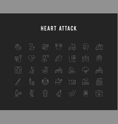 Set flat line icons heart attack vector
