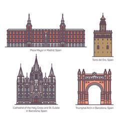 set isolated spanish spain landmark buildings vector image