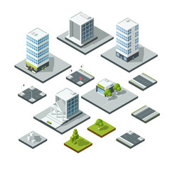 set isometric city landscape design elements vector image