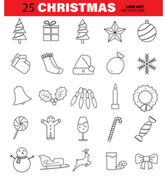 set of christmas line icons tree bell ball vector image