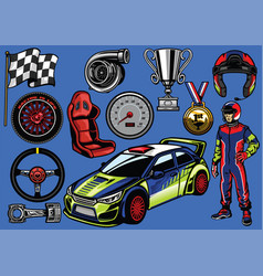 Set of rally car color vector