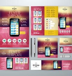 Set of stationery design templates flyer booklet vector