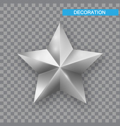 silver christmas star isolated on white background vector image