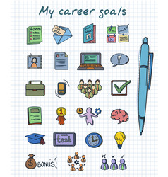 sketch colored career development elements set vector image