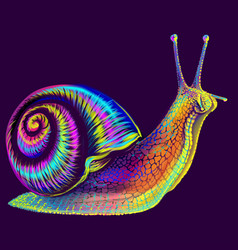 Snail abstract multi-colored neon portrait vector