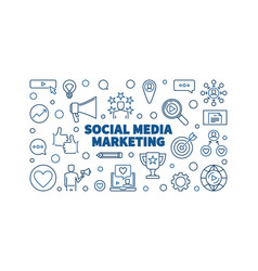 social media marketing blue line horizontal vector image