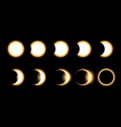 Solar eclipse different phases vector