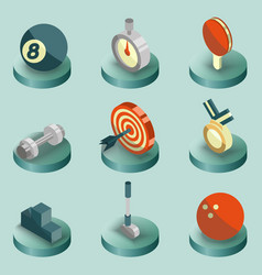 sport color isometric icons vector image