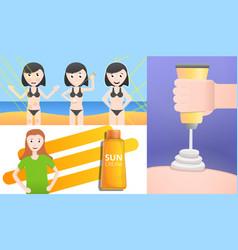 sunscreen banner set cartoon style vector image