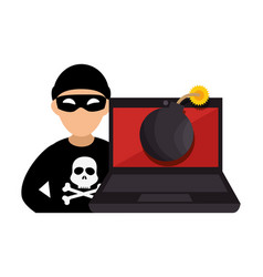 System hacker character icon vector