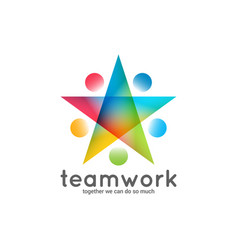 Teamwork logo business star concept on white vector