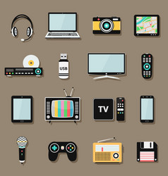 Technology and multimedia digital devices icons vector