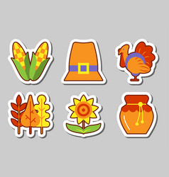 thanksgiving icon sticker set isolated vector image