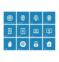 Touch id fingerprint icons on blue background vector