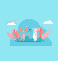 valentine s day romantic couple lovely mice in vector image
