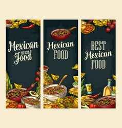 vertical poster with mexican traditional food and vector image