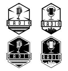 Vintage labels of radio with microphone and vector