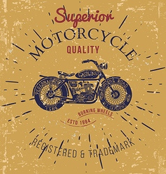Vintage motorcycle design for tee shirt graphic vector